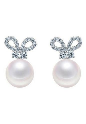Vivere Rosse white Bowdacious Pearl Stud Earrings VI014AC79GSMMY_1