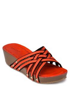 交叉編織帶厚底涼鞋