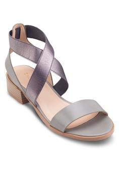 【ZALORA】 交叉踝帶粗跟涼鞋