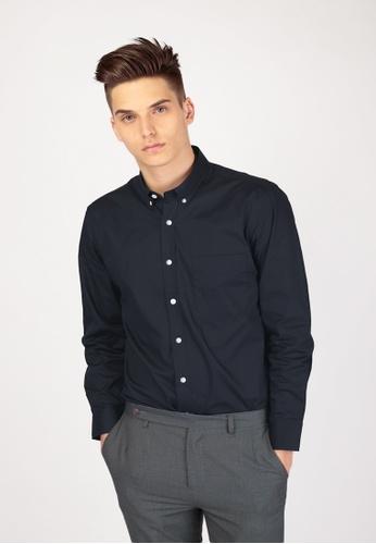 A for Arcade navy Alexander Button Down Shirt in Navy 9197BAA0213649GS_1