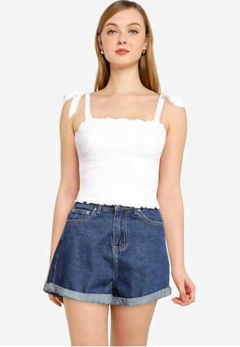 ABERCROMBIE & FITCH white Smocked Cami AAE5CAAEC8B861GS_1