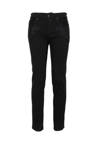 Versace black Versace Patch Detail Buttoms On Jeans in Black A61E8AA551A473GS_1