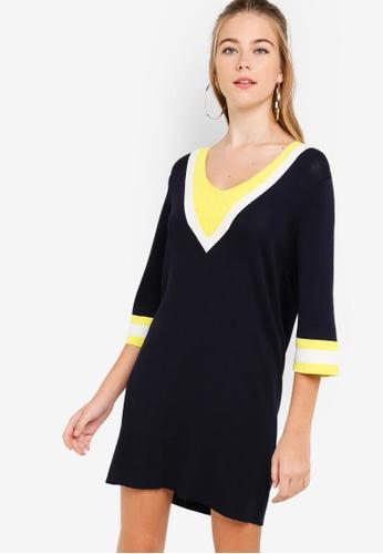 Something Borrowed navy Colorblock Knit Sweater Dress 78AAFAA302975AGS_1