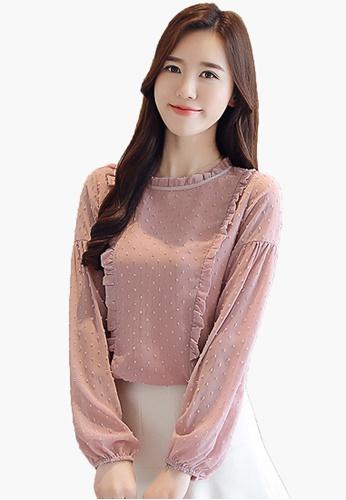 Halo pink F/W Chiffon Long Sleeves Blouses 59785AAD54558EGS_1