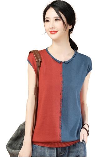 A-IN GIRLS 紅色 and 藍色 時尚拼色圓領針織衫 AF00DAA51D7FD0GS_1