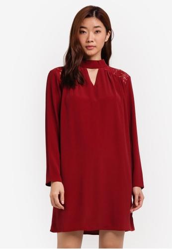 ZALORA red Long Sleeve Lace Yoke Detail Dress 1FBA0ZZFEA8B44GS_1