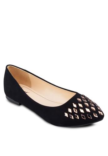 閃飾尖頭平底鞋, 女鞋, 芭蕾平底zalora 手錶鞋