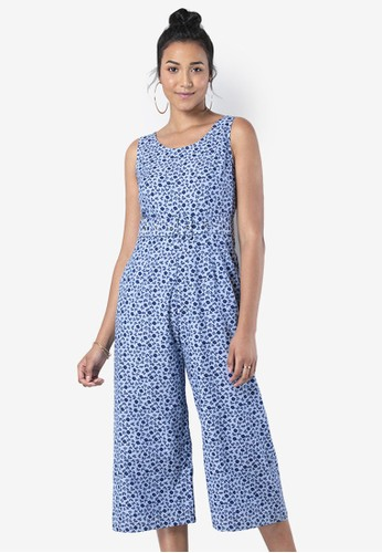 FabAlley blue Floral Chambray Belted Jumpsuit 5BC9FAAEE2567CGS_1