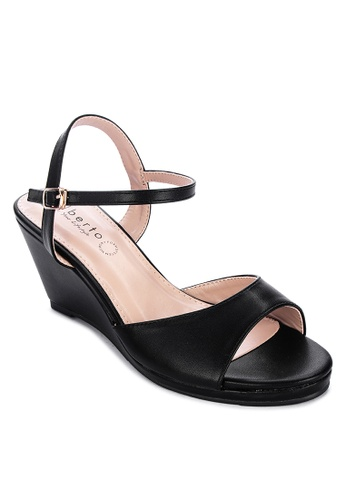 Alberto black One-strap wedge sandals C70EFSHA251054GS_1
