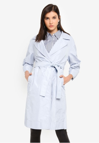 Hopeshow blue Long Sleeve Trench Coat 7D28FAABCD78F0GS_1