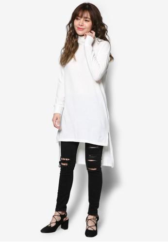 不對稱高zalora 評價領針織長袖衫, 服飾, 洋裝