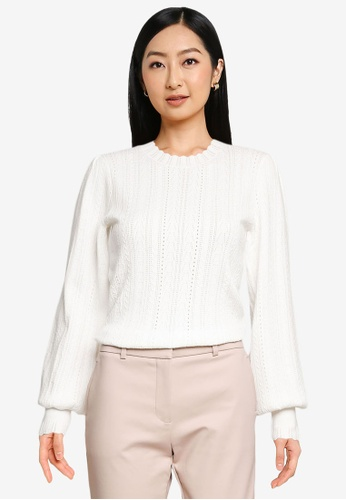 Forever New white Azelle Crew Neck Pointelle Knit Top C4C74AA4BA1111GS_1