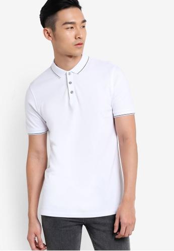 Burton Menswear London 白色 滾邊條紋POLO衫 BU964AA33ODEMY_1