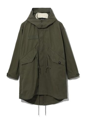 Fivecm green Hooded fishtail parka 5746BAADDA5E36GS_1
