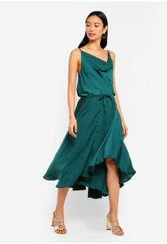 5624dff570e4 INDIKAH green Cowl Neck Slip Dress With Tunnelled Waist Tie  41CDCAA2C2F7F5GS 1