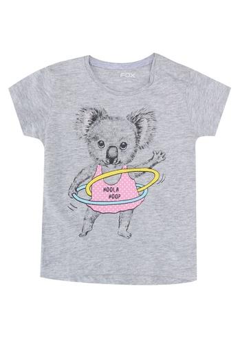 FOX Kids & Baby grey Printed Crop Sleeve Tee A780BKAF30AE88GS_1