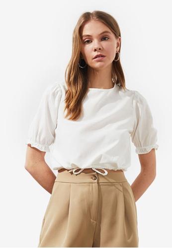Trendyol white Tie Waist Detail Puff Sleeve Top 99F15AAF1F68A9GS_1