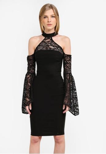 Vesper black Kiki Lace Contrast Sleeve Pencil Dress VE733AA0S77XMY_1