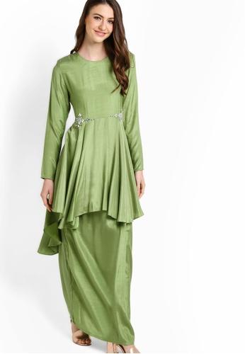 Gene Martino green Baju Kurung Modern GE222AA35JDGMY_1