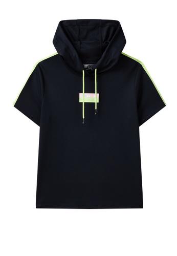 FILA navy FILA Logo Side Tape Cotton Hooded T-shirt 0BC85AA53D3344GS_1
