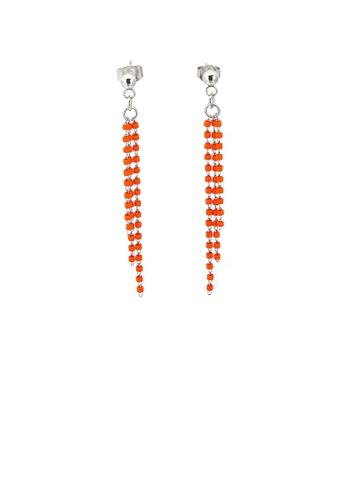 Glamorousky 橘色 簡約時尚幾何橙色水晶流蘇316L鋼耳環 3105DAC5B2ACF2GS_1