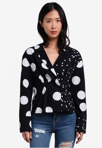 TOPSHOP black Mix Spot Waisted Shirt TO412AA0S4HQMY_1