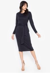DEBENHAMS grey Principles - Prn Ls Cupro Tie Front Midi Dress 8E6A2AA31BEB6AGS_1