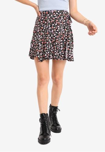 PIMKIE black and multi Printed Wrap Mini Skirt 3007BAA2A609C3GS_1