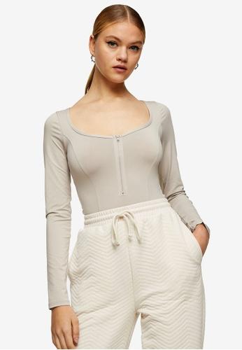 TOPSHOP multi Stone Slinky Long Sleeve Zipped Bodysuit DFECAAA1653B08GS_1