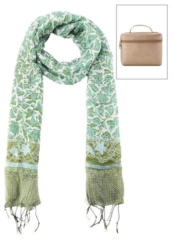 La Maison D'Evolette green Soft Silk Kirana Scarf Jasmine Forest 49A91ACBF39470GS_1