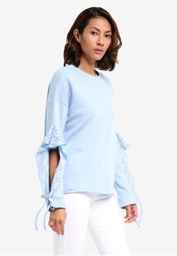 River Island blue Broderie Sleeve Detail Sweatshirt B09C0AA892C300GS_1