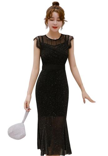 Sunnydaysweety black Bright Silk Slim-Fit Mermaid One Piece Dress A21022258 BD76BAA465D3EEGS_1