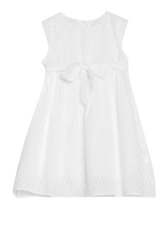 Spring Fling white Round Neck Stripe Dress AC85BKAC269374GS_1
