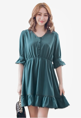 YOCO green Buttoned Dress with Frill Hem DB9C7AA2D5E108GS_1