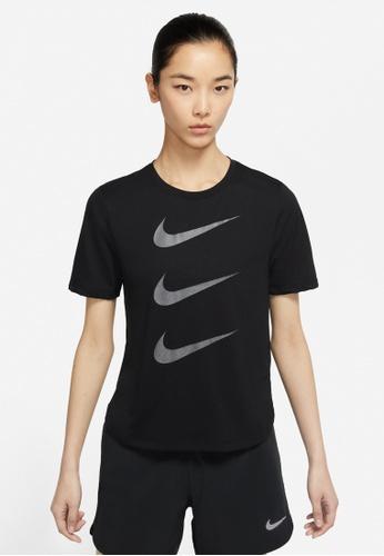 Nike black Women's Run Division Short Sleeve Running Top 7966EAA956DB57GS_1