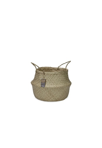 HOUZE ecoHOUZE Seagrass Plant Basket With Handles (Small) - Natural 54F4AHLBC9E6FCGS_1