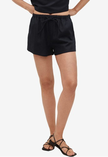 Mango black Drawstring Waist Linen Shorts AD265AA1D59AAEGS_1
