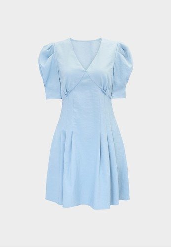 Pomelo blue V Neck Puff Sleeve Dress - Blue 44B35AAEBECD8EGS_1