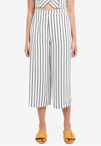 Miss Selfridge white Petite Monochrome Striped Culotte Trousers 1C6D0AA2F07B20GS_1