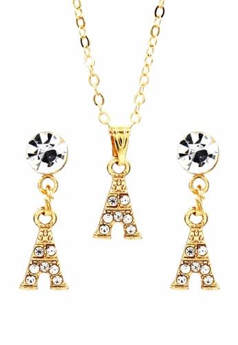 Venice Jewelry gold Venice Minnie Eiffel Necklace and Earrings Set VE564AC0IMCVPH_1