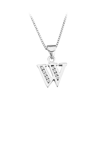 Glamorousky white 925 Sterling Silver Fashion Simple English Alphabet W Pendant with Cubic Zirconia and Necklace 329D5AC0D15D59GS_1