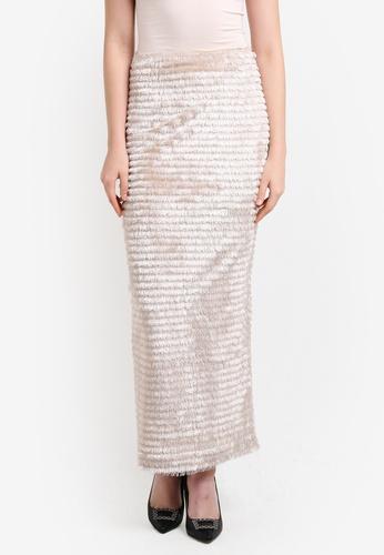Zalia gold Fringe Straight Skirt E7730AA3D91E8FGS_1