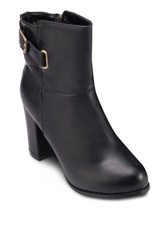 扣環仿皮粗跟zalora退貨踝靴, 女鞋, 鞋