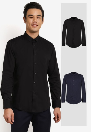 ZALORA black and navy 2 Pack Skinny Fit Cotton Poplin Long Sleeve Shirt ZA819AA0RO12MY_1