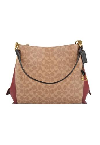 COACH brown Coach Dalton 31 Shoulder Bag in Tan/Deep Red 67D6CAC042961EGS_1
