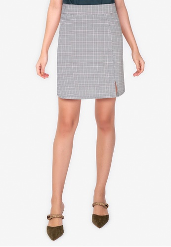 ZALORA WORK multi A Line Mini Skirt With Slit 0AC68AA46F040CGS_1