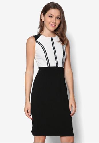 雙色無袖鉛筆zalora開箱連身裙, 服飾, 洋裝