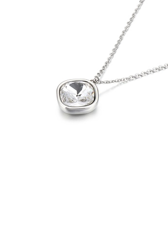 Glamorousky white Simple Personality Geometric Square White Cubic Zirconia 316L Stainless Steel Pendant with Necklace 8596DAC9E5FCA0GS_1