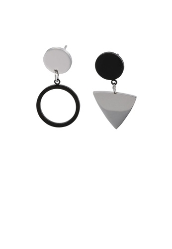 Glamorousky silver Fashion Temperament Geometric Triangle Round Asymmetrical 316L Stainless Steel Earrings A9D9FAC46F6D09GS_1