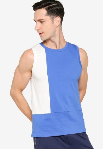 ZALORA ACTIVE blue Colourblock Sleeveless T-Shirt 86FCAAAA451A3EGS_1